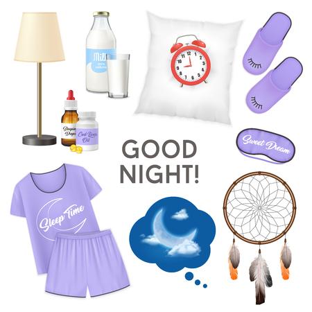 Welterusten realistisch ontwerpconcept met wekker op kussen glas melk pyjama pantoffels geïsoleerde pictogrammen instellen vectorillustratie Vector Illustratie