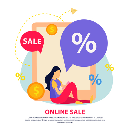 Great sale flat brochure with online sale headline different elements on theme vector illustration