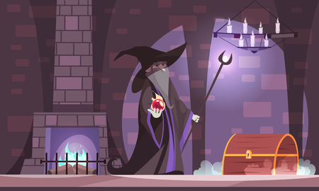 Evil magician in wicked witch hat with power ball treasure chest in dark castle chamber cartoon vector illustration Illustration