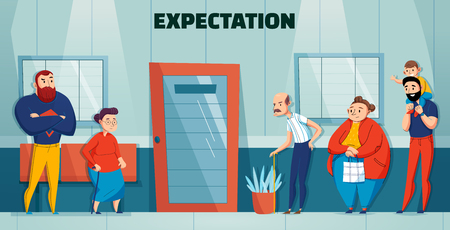 Queue people hospital doctor composition with expectation headline and different age and needs people waiting in line vector illustration