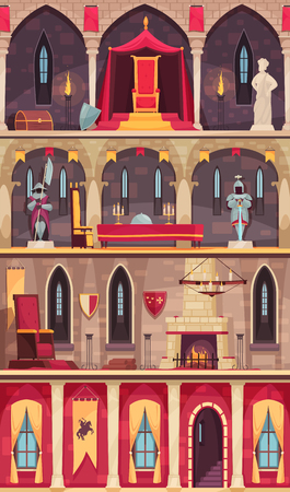 Medieval castle interior 4 flat banners set with dining hall ballroom throne room chambers isolated vector illustration