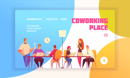 Coworking place landing page concept for website with coworkers in shared working environment and contact information about firm flat vector illustration