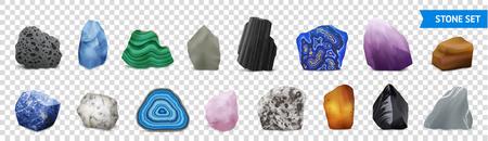Geïsoleerde en realistische stenen transparante pictogrammenset met veelkleurige en vormen stenen vectorillustratie