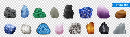 Isolated and realistic stone transparent icon set with multicolored and shapes stones vector illustration