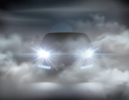 Feux de voiture réalistes dans le concept abstrait de composition de brouillard avec une voiture argentée à l'illustration vectorielle de nuit