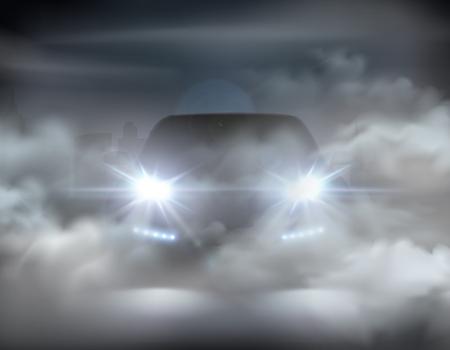 Luces de coche realistas en concepto abstracto de composición de niebla con coche plateado en la ilustración de vector de noche