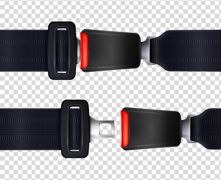 Zestaw realistycznych pasów bezpieczeństwa z metalowym zapięciem i czarnym teksturowanym paskiem na przezroczystym tle ilustracji wektorowych Ilustracje wektorowe