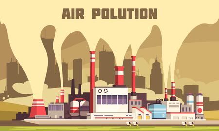 Air pollution flat composition with harmful emissions from tubes of big energy plant vector illustration Illustration