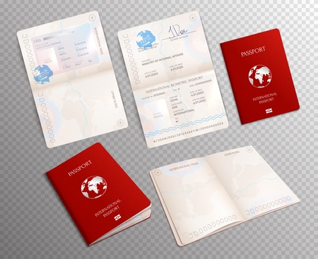 Biometric passport realistic set on transparent background with document mockups opened on different sheets vector illustration Çizim