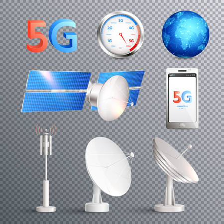 Modern mobile internet technology transparent set of isolated elements promoting signal transmission of 5g standard realistic vector illustration Иллюстрация