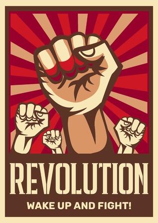 Poing levé vintage révolution constructiviste communisme promouvant l'affiche symbolisant la solidarité de l'unité avec les peuples opprimés combattent l'illustration vectorielle Vecteurs