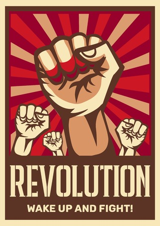 Raised fist vintage constructivist revolution communism promoting poster symbolizing unity solidarity with oppressed people fight vector illustration
