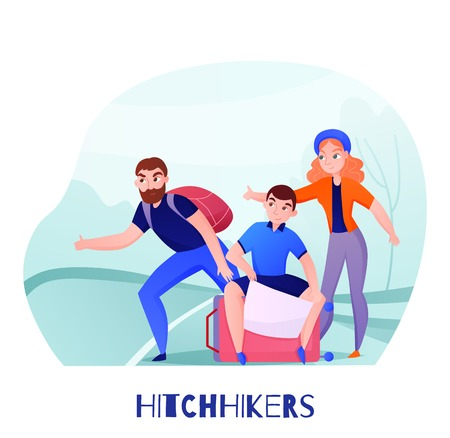 Group of travelers hitchhikers with luggage on road during catch of car vector illustration