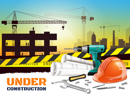 Realistic construction background with under construction headline and different equipment on front side vector illustration Illustration