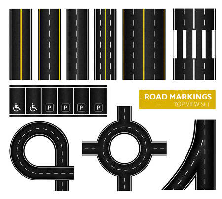 Black road markings top view icon set with different marking white and yellow vector illustration
