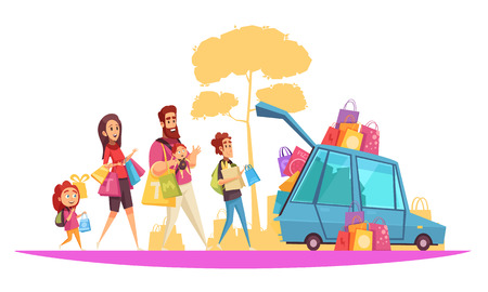 Family active holidays parents and kids during car loading by purchases cartoon vector illustration