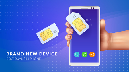 Realistic memory card sim background with brand new device best dual sim phone headline vector illustration Illustration