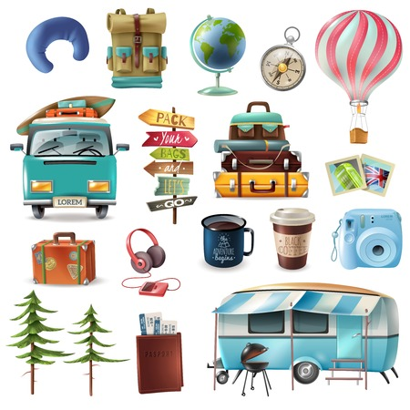 Set of travel objects including transportation, baggage, passport with tickets, photo camera, pointers, drinks isolated vector illustration Ilustrace