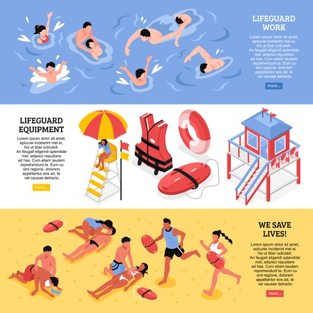 Beach lifeguards horizontal banners  illustrated lifeguard work equipment and rescue accessories isometric vector illustration Vectores