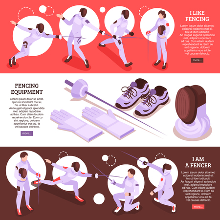 Isometric fencing set of three horizontal banners with sword play scenes text and read more buttons vector illustration Archivio Fotografico - 124785142