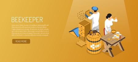 Beekeepers during honey production isometric horizontal banner on pale brown background vector illustration Standard-Bild - 118169010