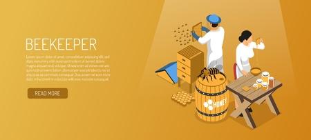 Los apicultores durante la producción de miel banner horizontal isométrico en la ilustración de vector de fondo marrón pálido Ilustración de vector