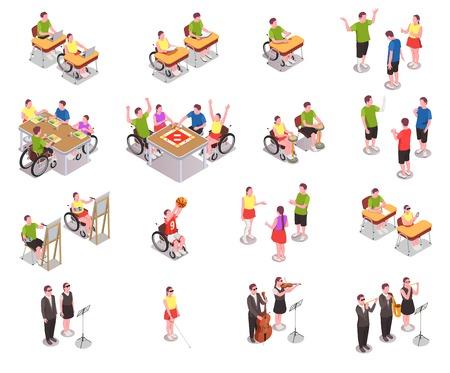 Icônes isométriques d'éducation inclusive définies avec des personnes handicapées dans différentes situations à l'école isolées sur fond blanc illustration vectorielle 3d Vecteurs
