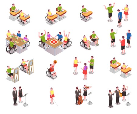 Inclusive education isometric icons set with disabled people in different situations at school isolated on white background 3d vector illustration Иллюстрация