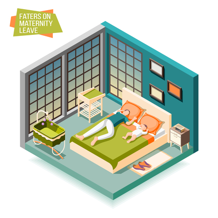 Fathers on maternity leave isometric composition illustrated rest with child after day fatigue vector illustration Illustration