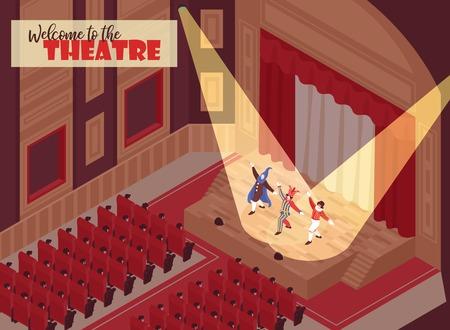Les gens qui regardent la performance dans la salle de théâtre 3d illustration vectorielle isométrique