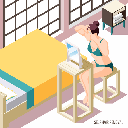 Hair removal background with woman plucking eyebrows in front of mirror 3d vector illustration Standard-Bild - 124733506