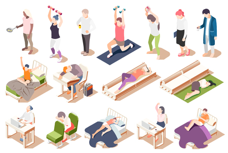 Human circadian rhythms isometric icon set with fatigue lack of sleep drowsiness vector illustration Illustration