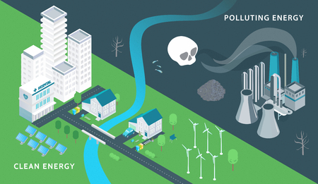 Ecology and pollution isometric background with clean energy symbols isometric vector illustration