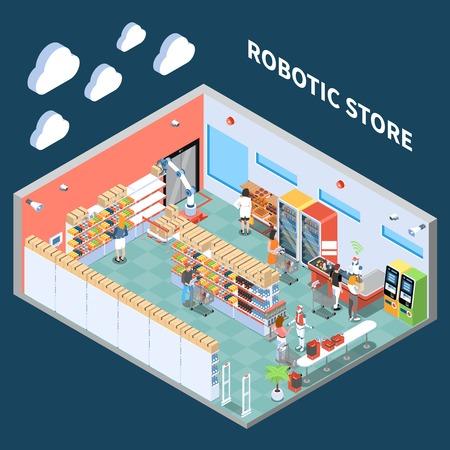 Composition isométrique du magasin robotique avec l'intérieur de la salle des marchés du supermarché équipée d'un équipement de future illustration vectorielle