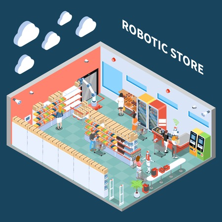 Robotic store isometric composition with interior of supermarket trading hall  equipped with equipment of future vector illustration Illustration