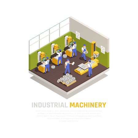 Industrial machinery isometric concept with factory manufacturing symbols  vector illustration Ilustração