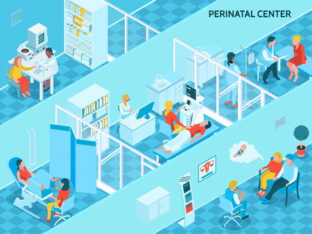 Gynecology and pregnancy background with perinatal center symbols isometric vector illustration