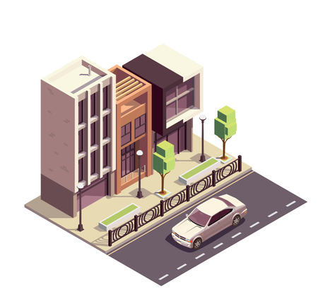 Townhouse buildings isometric composition with row of modern houses sidewalk pavement and motorway with street scenery vector illustration