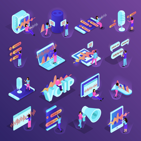 Voice control isometric icons set of different devices for smart home and personal gadgets supporting voice management programs isolated vector illustration Vettoriali