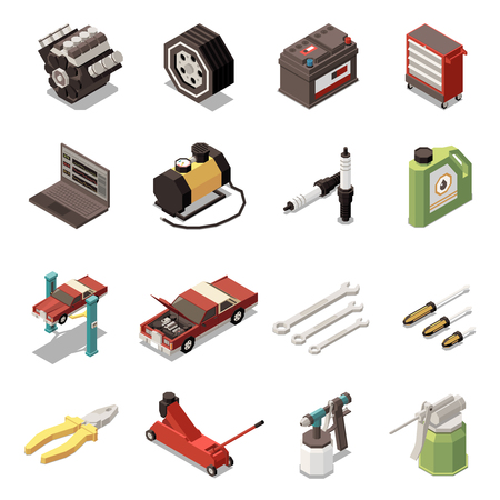 Isolated car service isometric icon set with plug tool kit and equipment vector illustration