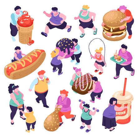 Hombres y mujeres que sufren de gula y hacen deportes iconos isométricos conjunto aislado sobre fondo blanco ilustración vectorial 3d