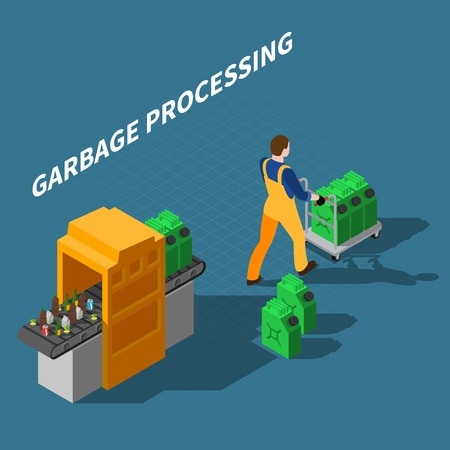 Garbage recycling isometric composition with conveyor machine processing waste into fuel with worker character and text vector illustration 일러스트