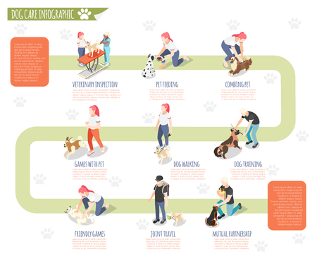 Ordinary life of man and his dog isometric infographic with veterinary inspection pet feeding combing pet dog walking training and other descriptions vector illustration