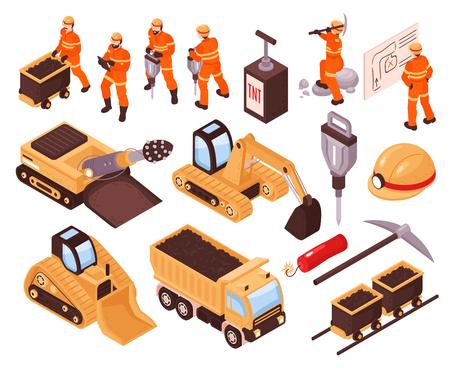 Izometryczny zestaw ikon z maszynami górniczymi i górnikami na białym tle ilustracji wektorowych 3d