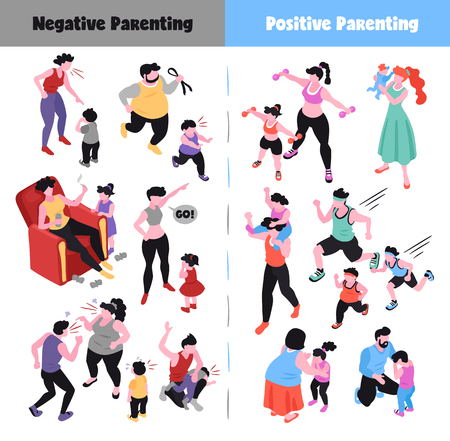 Parenting isometric icons set depicting positive and negative ways of raising children 3d isolated vector illustration