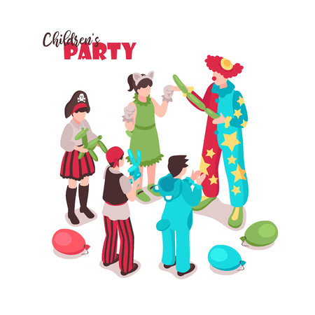 Isometric kids animator background with ornate text and group of children in festive costumes with entertainer vector illustration