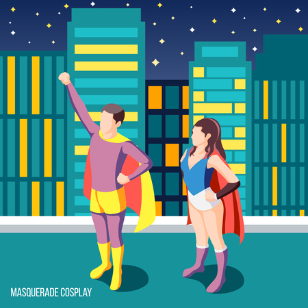 Colorful isometric background with two people wearing cosplay superhero costumes standing on house roof 3d vector illustration  イラスト・ベクター素材