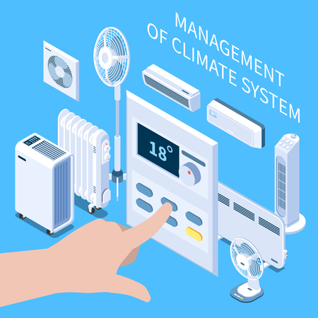 Management of climate system isometric composition with human hand setting temperature mode on control panel for air conditioner vector illustration