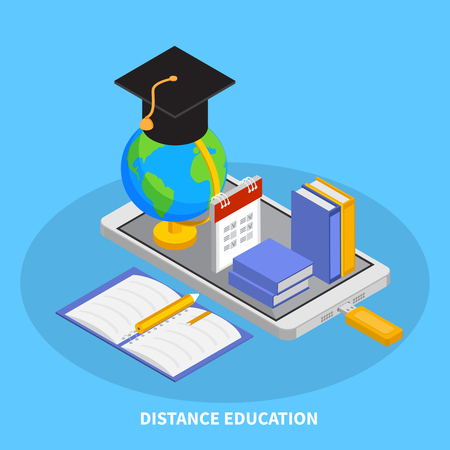 Online education composition with distance education symbols isometric  vector illustration