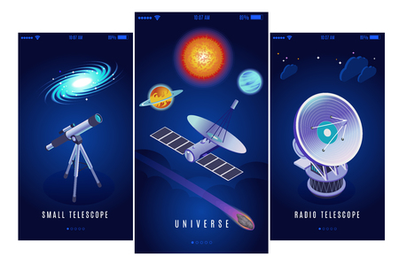 Astrophysics space research science mission 3 vertical isometric banners with radio and small optical telescopes vector illustration Illustration